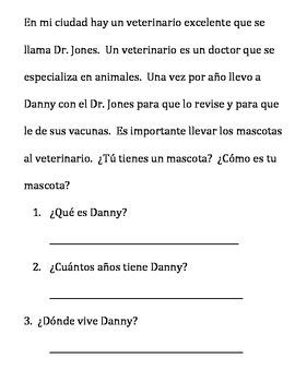 Comprehnsión de lectura Reading Comprehension 2nd grade SPANISH