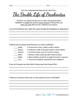 Comprehsnsion Questions for ' The Double Life of Pocahontas ' by Jean Fritz