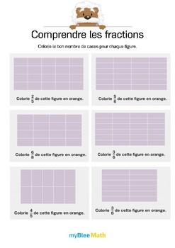 Comprendre les fractions 11 - Colorie le bon nombre de cases