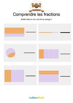 Comprendre les fractions 4 - Quelle fraction est coloriée en orange ?