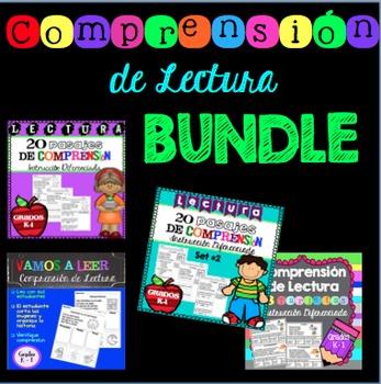 Comprensión de Lectura BUNDLE Grados K-1 / Reading Comprehension in Spanish