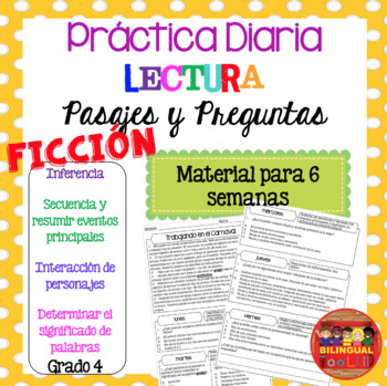 Comprensión de Lectura Ficción Grado 4 Reading Comprehension in Spanish