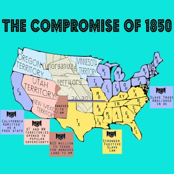 Compromise of 1850 Annotated Map - For Civil War Unit