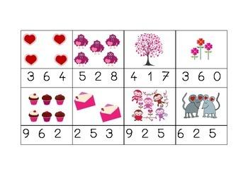 Compte les objets de St. Valentin et entoure le nombre
