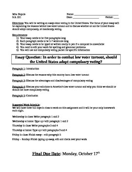 Example Of Essay Proposal Compulsory Voting Essay Learn English Essay Writing also An Essay On English Language Compulsory Voting Essay By Social Studies  Middle School  American  Essays On English Language