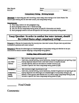 Example Of Essay Compulsory Voting  Essay  Timed Writing Essay Global Warming also Villanova Supplement Essay Compulsory Voting  Essay  Timed Writing  Tpt Essay Advertisement