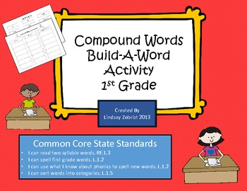 Compound Words: Build a Word First Grade Common Core Activity