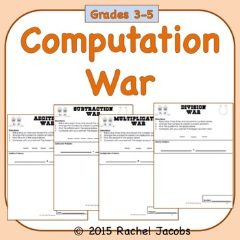 Addition, Subtraction, Multiplication, and Division War