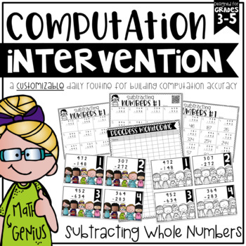 Subtracting Whole Numbers {Task Cards, Intervention, and H