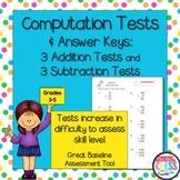 Math Computation Tests for Baseline Skills Assessment (Grades 3-5)