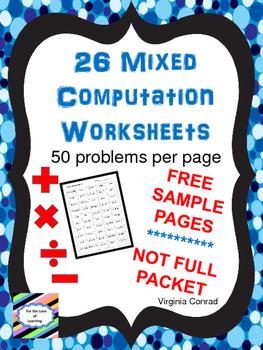 Computation Worksheets Sampler:  Add, Subtract, Multiply, Divide