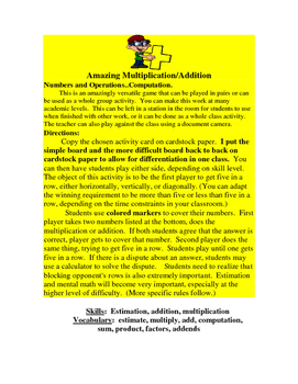 Multiplication and Addition Games:  (Amazing Multiplication and Addition)