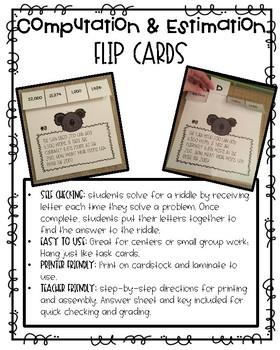 Computation and Estimation Flip Cards
