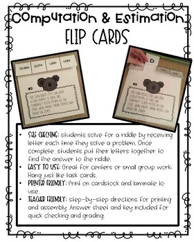 Computation and Estimation Flip Cards