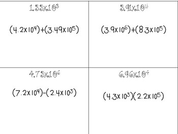 Computation with Scientific Notation Task Cards