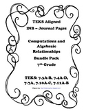 Computations and Algebraic Relationships INB Bundle Pack - 7th Grade TEKS