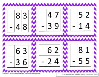 Compute With Speed (double digit subtraction with regrouping)