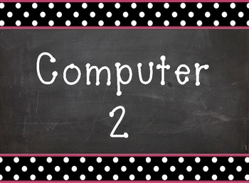 Computer 2 background/clipart - chalkboard with polka dots border