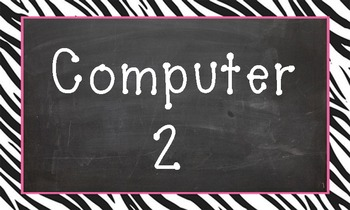 Computer 2 background/clipart - chalkboard with zebra border