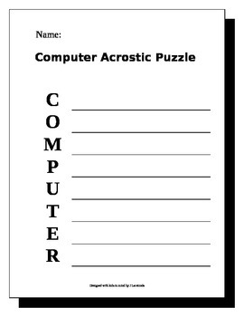 picture regarding Acrostic Puzzles Printable named Laptop Acrostic Puzzle