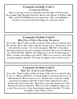 Computer Activity Cards