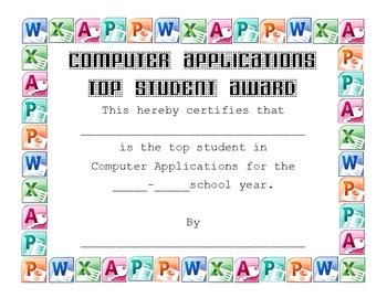 Computer Applications Award Certificate