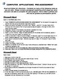 Computer Applications Class Pre-Assessment