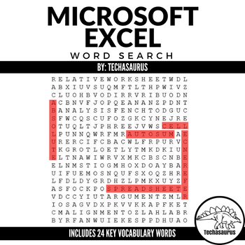 Computer Applications: MicroSoft Excel Spreadsheet Vocabulary Word Search
