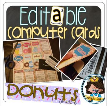 Computer Cards (Donuts Edition) 24 options using Recycled Gift Cards