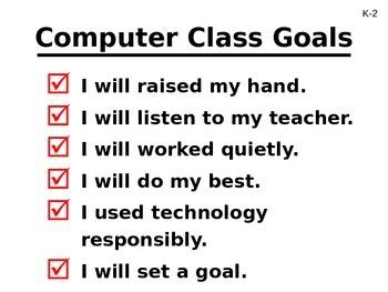 Computer Class Goals and Exit Pass Presentation