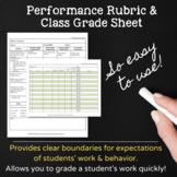 Computer Class Grading Rubric & Grade Sheet