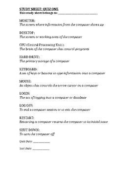 Computer Class Study Guide 1/13