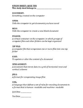 Computer Class Study Guide 10/13