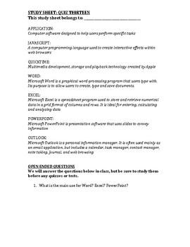 Computer Class Study Guide 13/13
