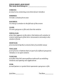 Computer Class Study Guide 8/13
