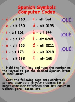 Spanish Computer Codes for Letters and Punctuation - Wallet Size