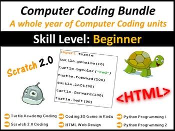 Technology Computer Coding – Entire Year Lesson Plans Bundle (Save $67)