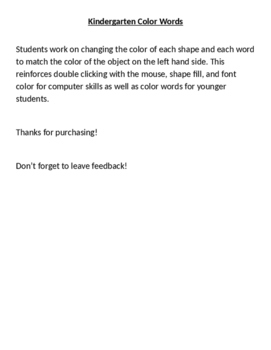 Computer Color Words Activity