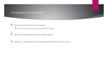 Computer Components - CPU/ALU/Main Memory