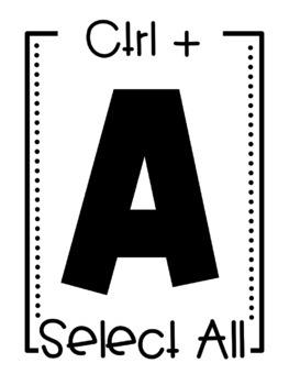 Computer Control Shortcuts printables