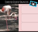 Computer Desktop Organizers and Wallpaper - Flamingo Mascot - Flamingo Theme
