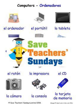 Computer Equipment in Spanish Worksheets, Games, Activities and Flash Cards