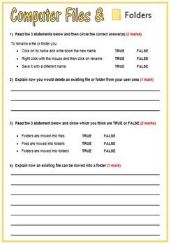Computer Files & Folders Management Review Sheet
