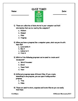 Computer Files and Folders (Quiz for Upper Elementary)
