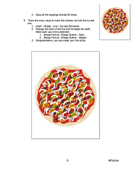 Computer Graphics Lesson:  Drawing a Pizza using MS Word