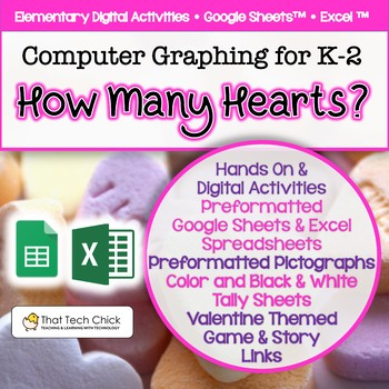 """Computer Graphing for K-1  """"How Many Hearts?"""" for MS Excel and Google Drive"""
