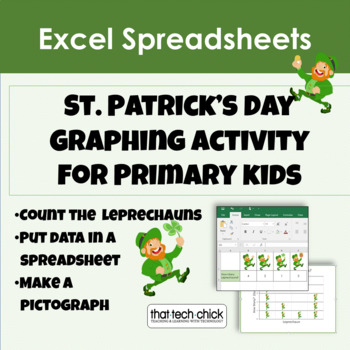 """Computer Graphing for K-1  """"How Many Leprechauns?"""" for MS Excel"""