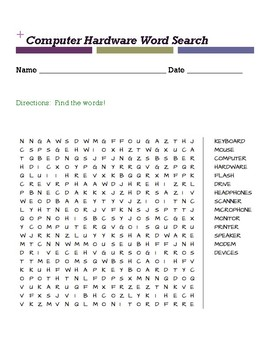 Computer Hardware Word Search