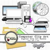 Computer Lab Tech Lab Digital Clip Art Bundle, Color and Black White