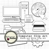 Computer Lab Tech Lab Clipart Printable and Digital Blackline Clip Art